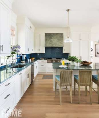 White kitchen with blue countertops