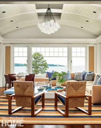Shope Reno Wharton Shingle style home family room with vaulted ceiling