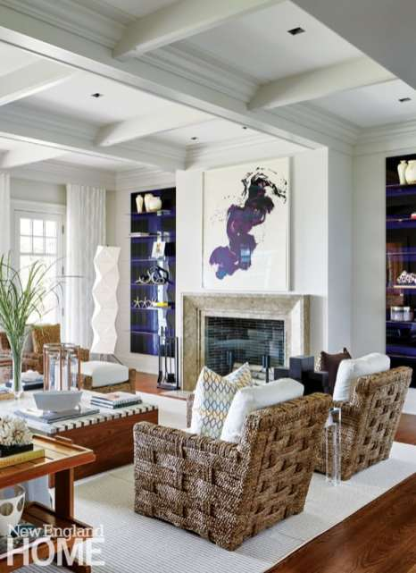 Shope Reno Wharton Shingle style home great room