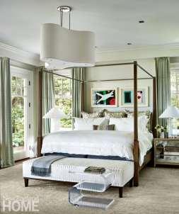 Master bedroom with mirrored nightstands