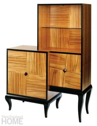 The 3-Squared display cabinet with a cabriole-style base in Chilean tineo and curly maple.