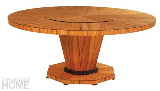 The Aspen table, in Chilean tineo and ebonized cherry, has a built-in lazy susan.