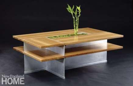 Zen coffee table in quarter-sawn white oak and aluminum.