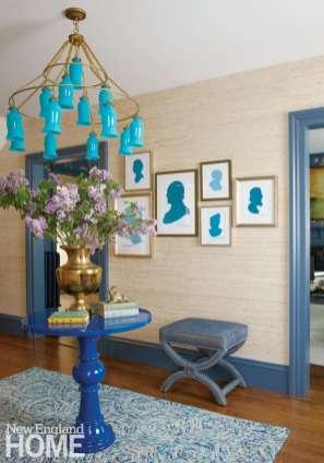 Foyer with grasscloth Hawthorne Inn