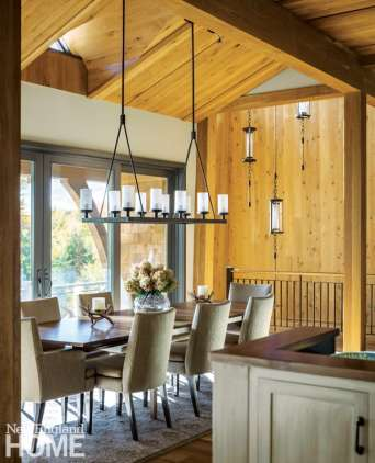 Vermont shingle style home dining area