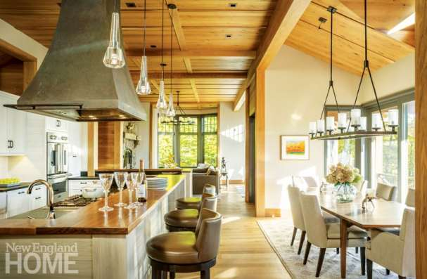 Vermont shingle style home dining kitchen