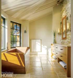Vermont shingle style home master bedroom