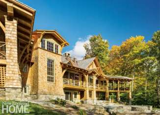 Vermont shingle style home rear exterior