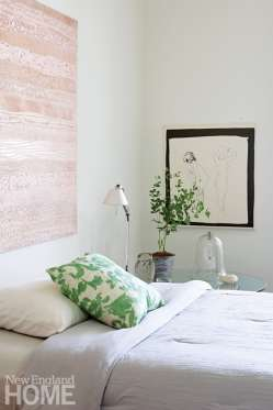 Guest bedroom with Tillet art