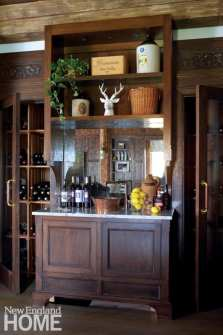Custom bar made from dark wood