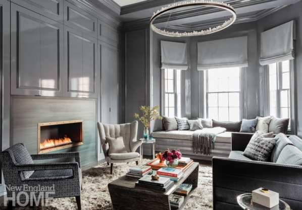 Living room designed by Dee Elms with lacquered walls