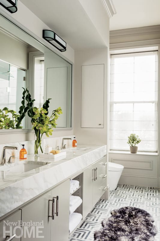 White marble bathroom with double vanity