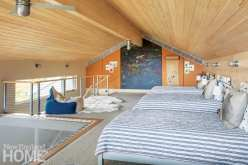 Bunk room with trampoline
