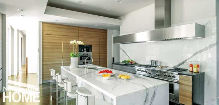 White and wood contemporary kitchen