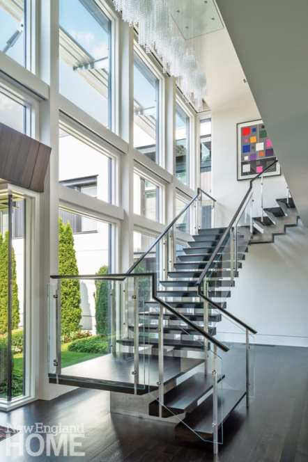 Contemporary staircase with glass