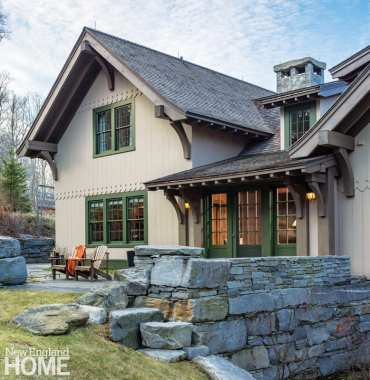 The patio is kept snow-free with heating under the stone pavers.