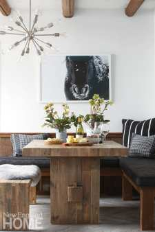 mountain furnishings, modern accents, rustic breakfast nook