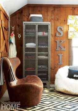 Industrial cabinet, ski sweaters, ski house, bedroom, ski sign