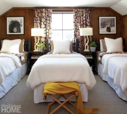 log beds, guest bedroom, custom drapes, throws