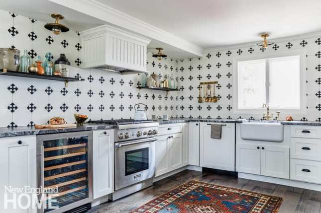 kitchen, graphic cement tiles, Frohmiller Construction, Shaker cabinets, Brazilian granite