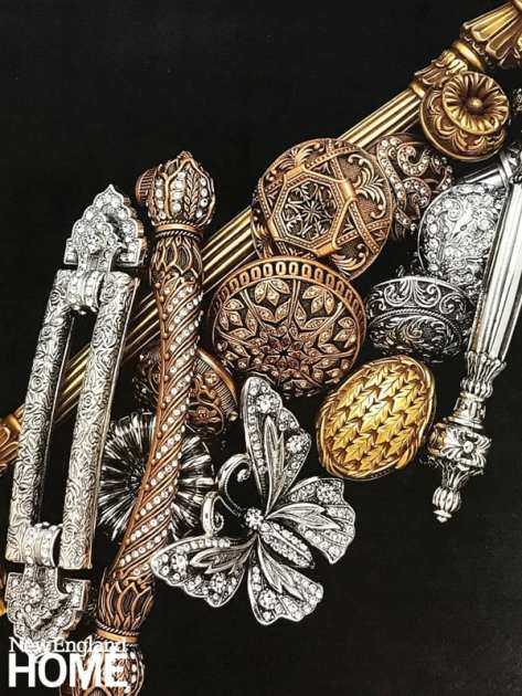 Silver plate, gold plate, and bronze-hued museum gold plate are among the finishes Edgar Berebi uses for his jewel-like cabinet hardware. Swarovski crystals also make a frequent appearance.