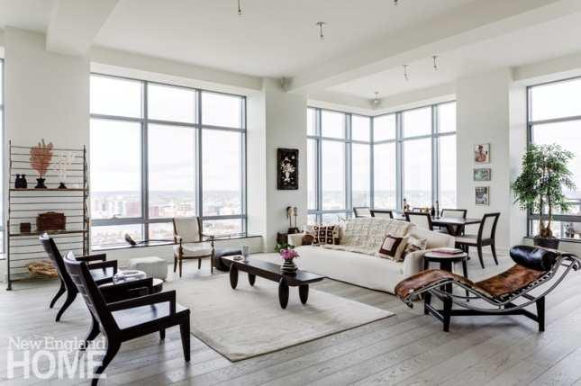 apartment views wraparound windows gray and white palette