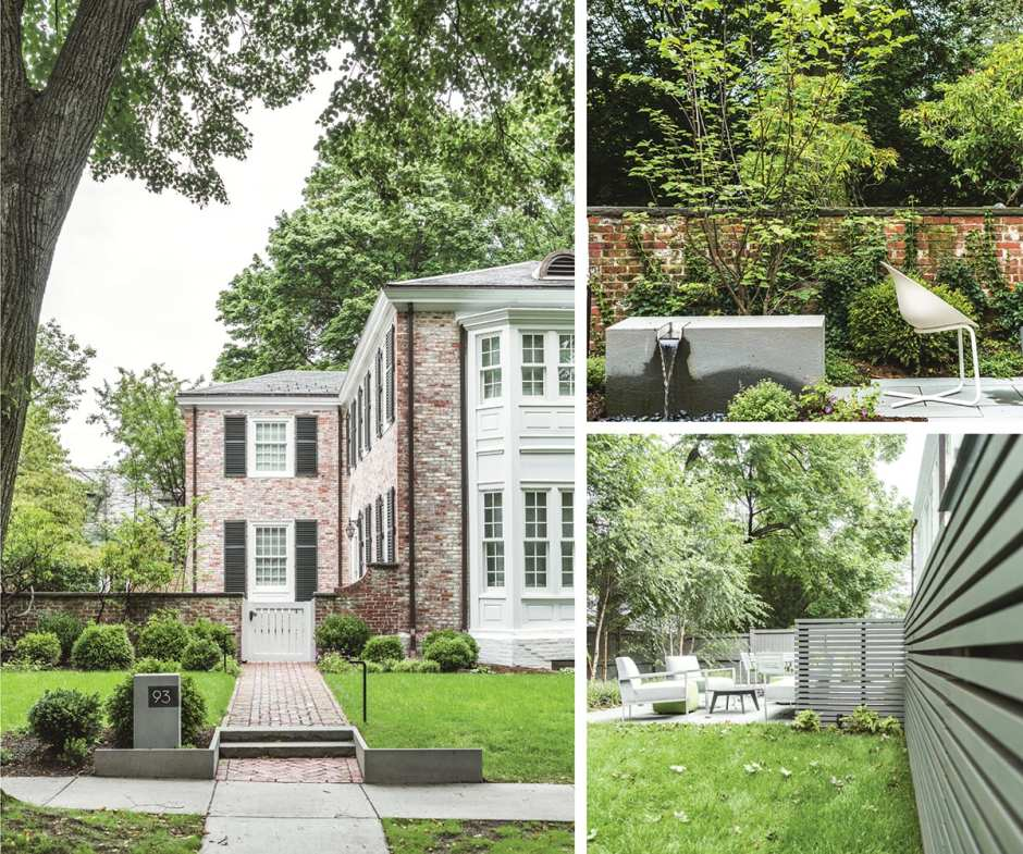 The exterior of a brick house in Brookline plus shots of the backyard including modern outdoor furniture and a water feature.