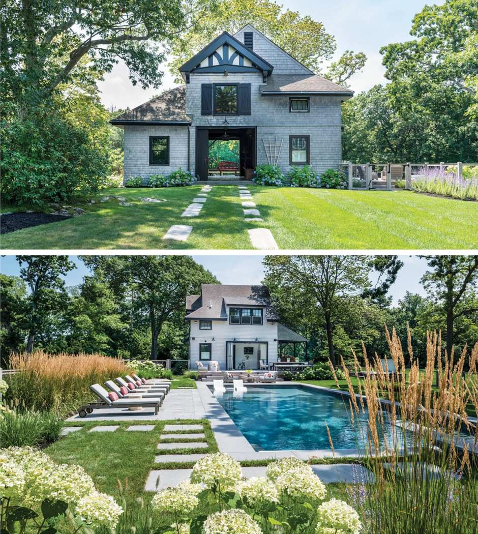 The exterior of a Cohasset home plus a shot of the backyard swimming pool surrounded by chaise lounges.