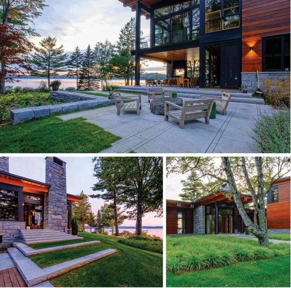 The exterior of a New Hampshire lake house plus photos of the green lawn and modern architecture.