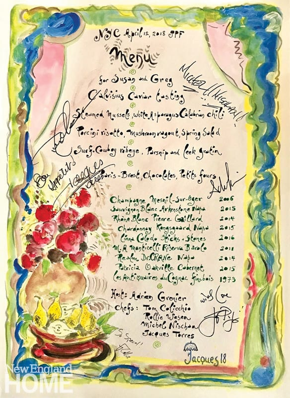 A hand-drawn menu featuring roses and pears