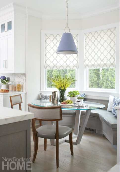 Breakfast nook with glass-top table