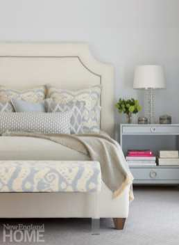 Master bedroom with white bed and light gray nightstand