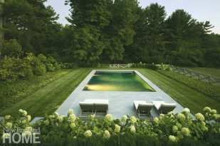The length of the swimming pool with hydrangeas in front of it