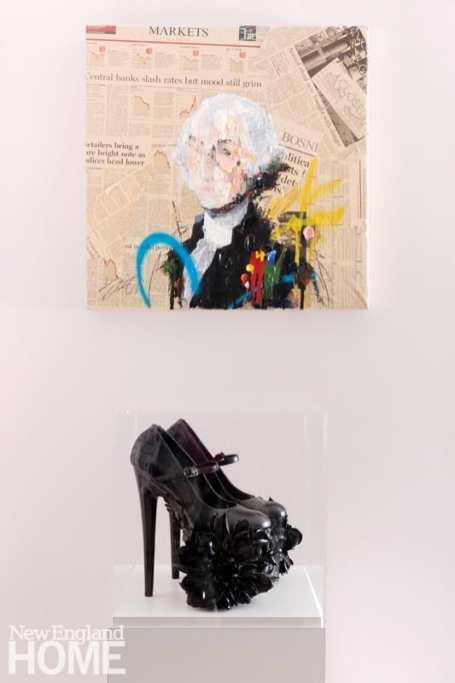 black stiletto heels on a pedestal