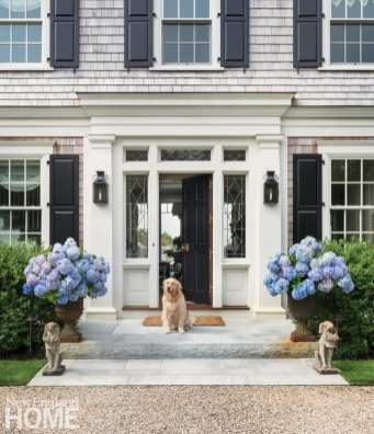 Up close shot of open front door with golden retriever sitting in the doorway