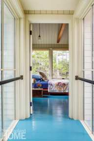 bedroom with shiplap ceiling and blue floor