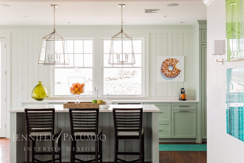 decorative lighting green and white kitchen