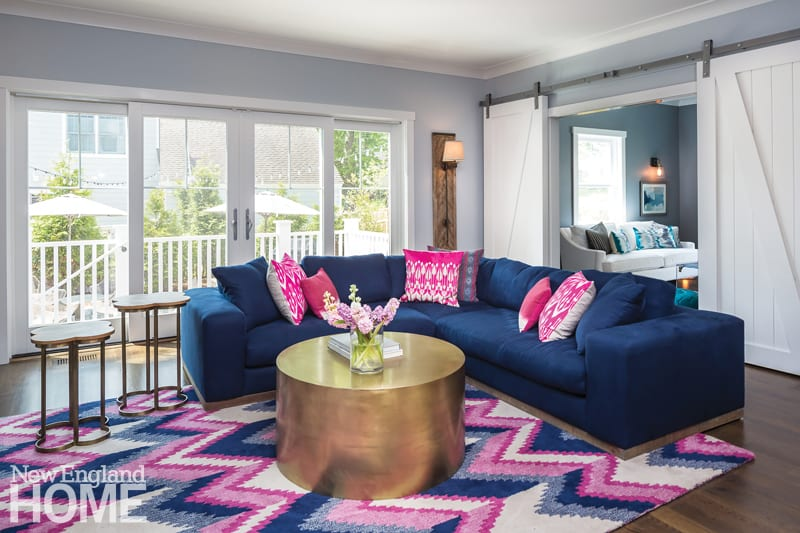 transforming a spec house blue couch
