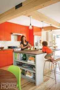 family friendly design orange kitchen