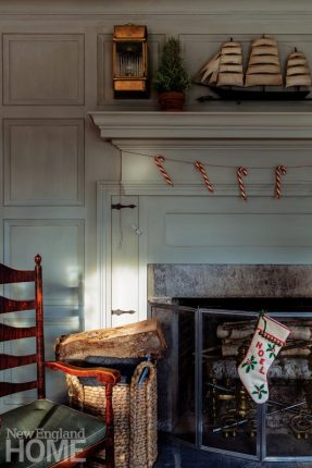 connecticut country house fireplace stockings