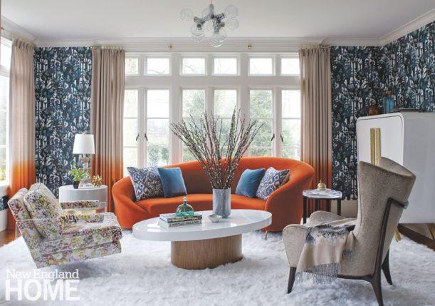 bright and bold orange sofa