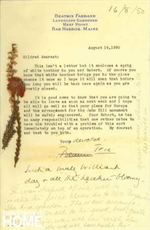 Beatrix Farrand letter