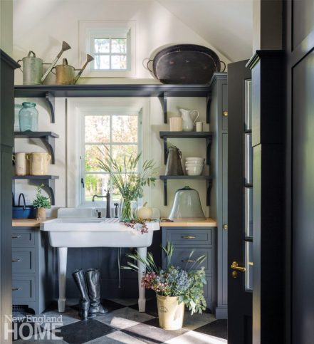 renovated vermont lake house mudroom