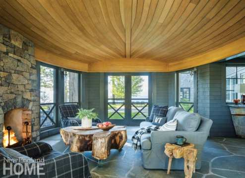 renovated vermont lake house living room