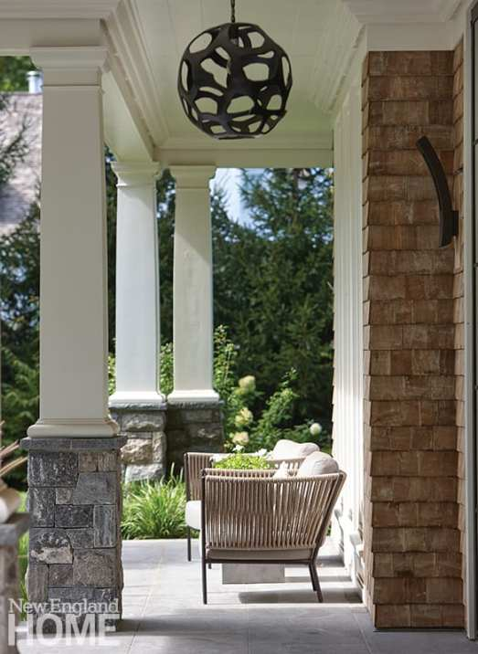 modern riverside home front portico
