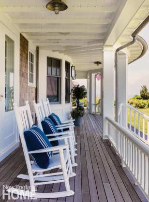 Porch with white rocking chairs