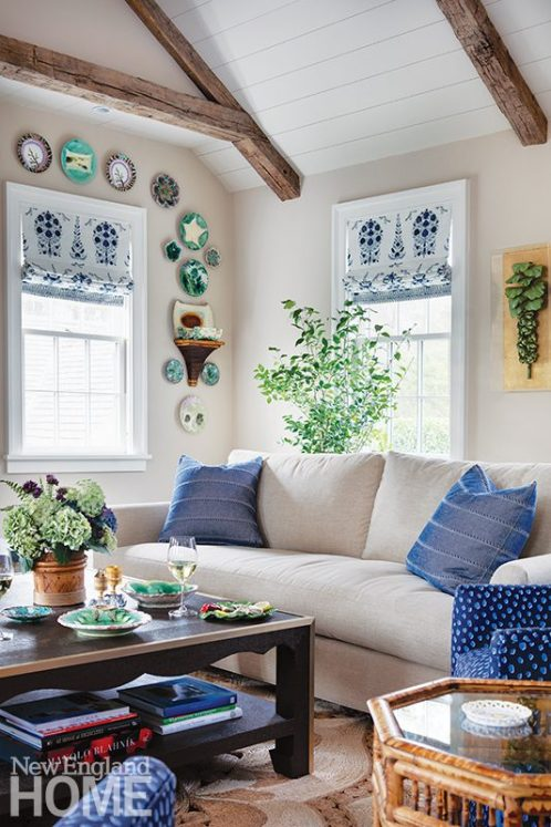 Blue and white sitting area