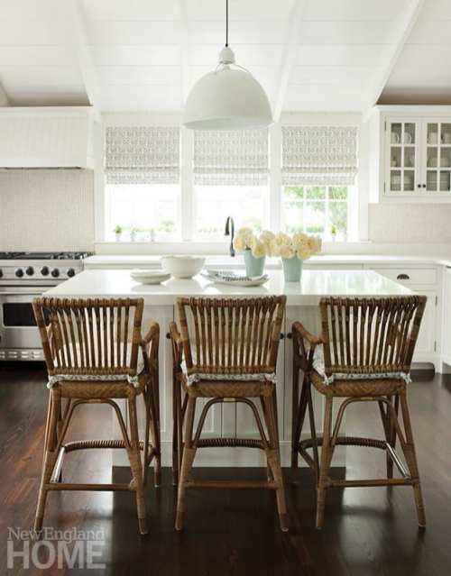 The kitchen island makes a perfect spot for casual breakfast or lunch.