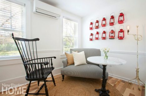A room at the Salt House Inn with red lanterns