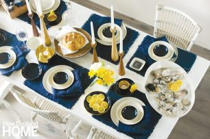 Freemover contemporary candlesticks bring romance to a classic Nantucket nautical blue-and-white tablescape